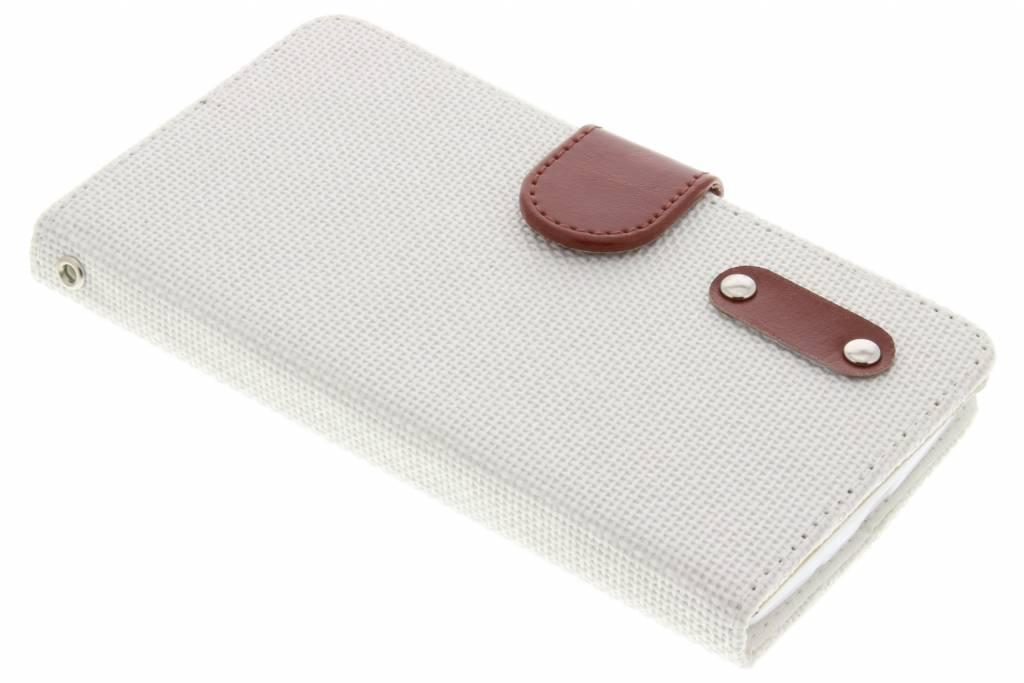 Witte linnen look TPU booktype hoes voor de LG Magna / G4c