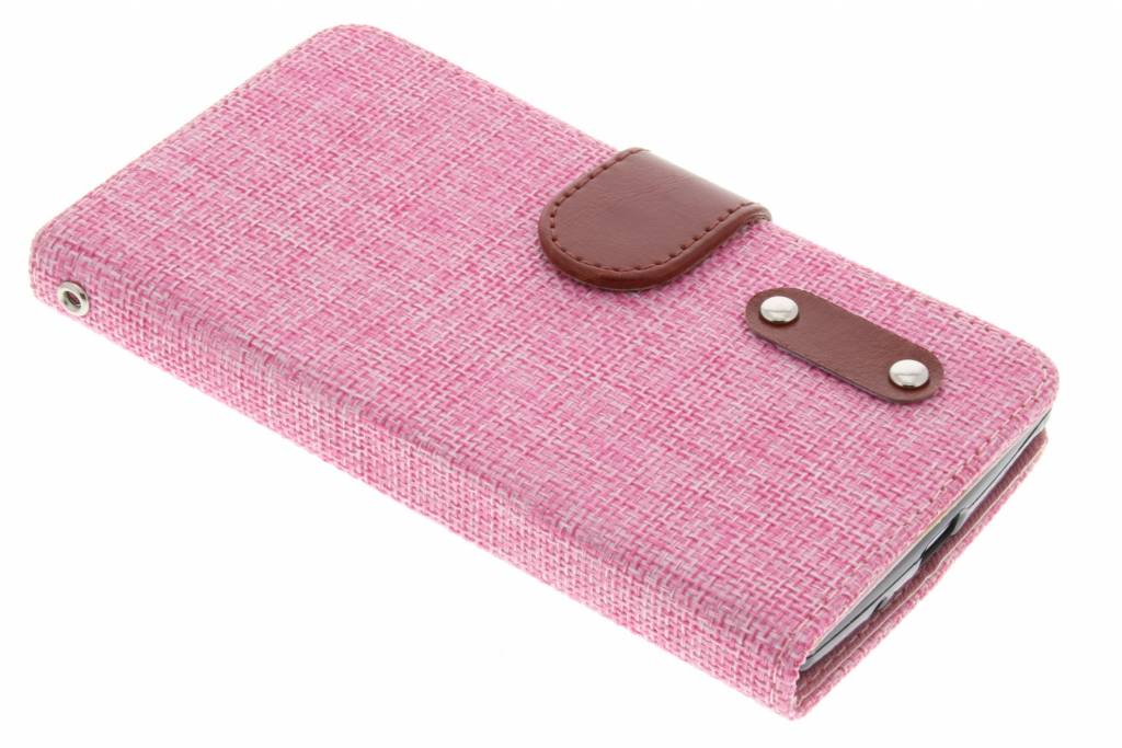 Roze linnen look TPU booktype hoes voor de LG Magna / G4c