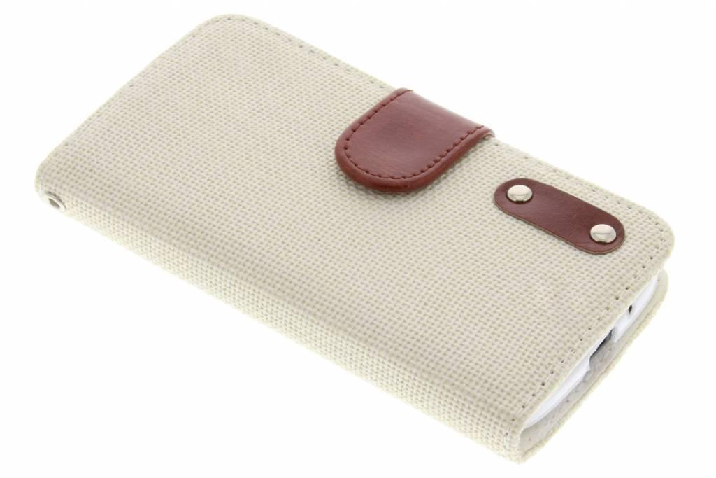 Witte linnen look booktype hoes voor de Motorola Moto G