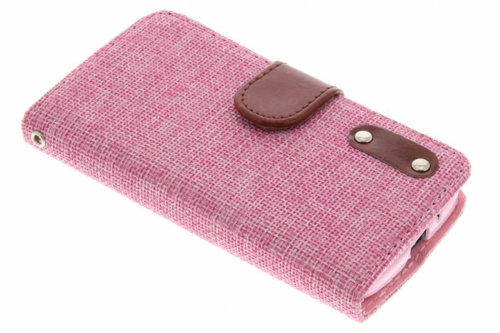 Roze linnen look booktype hoes voor de Motorola Moto G