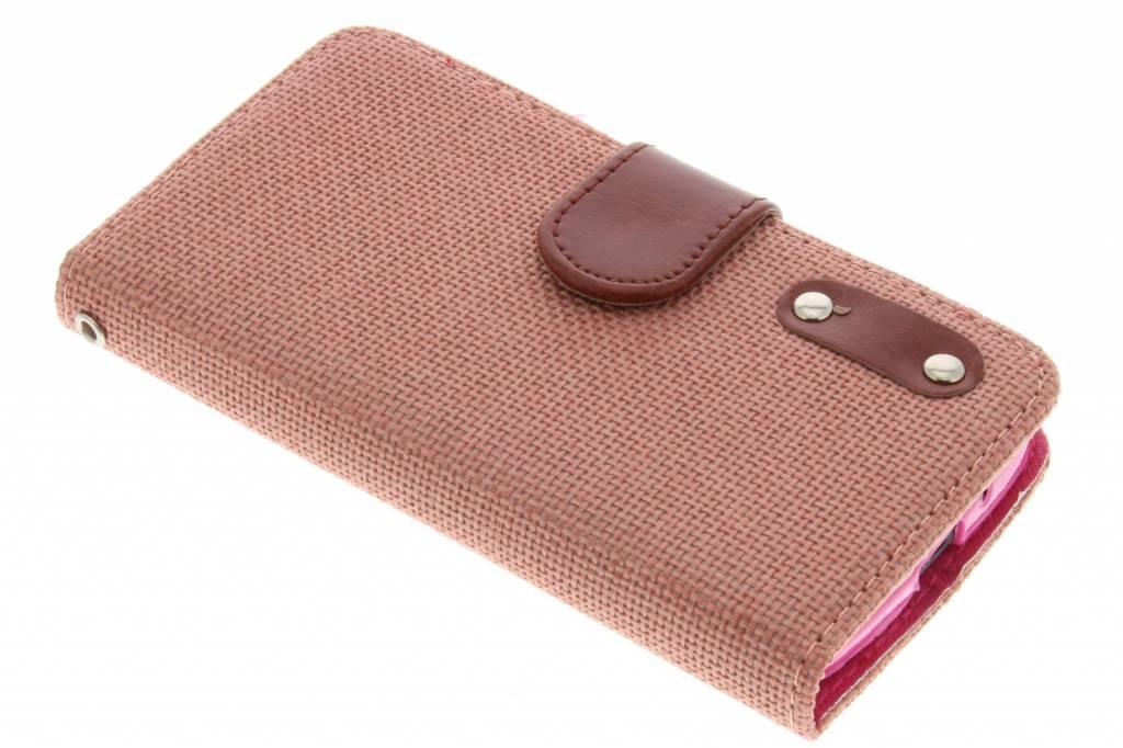 Zalmroze linnen look booktype hoes voor de Motorola Moto G