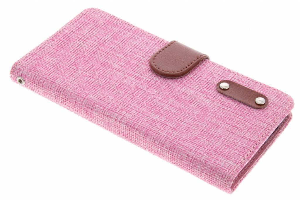 Roze linnen look TPU booktype hoes voor de OnePlus 2