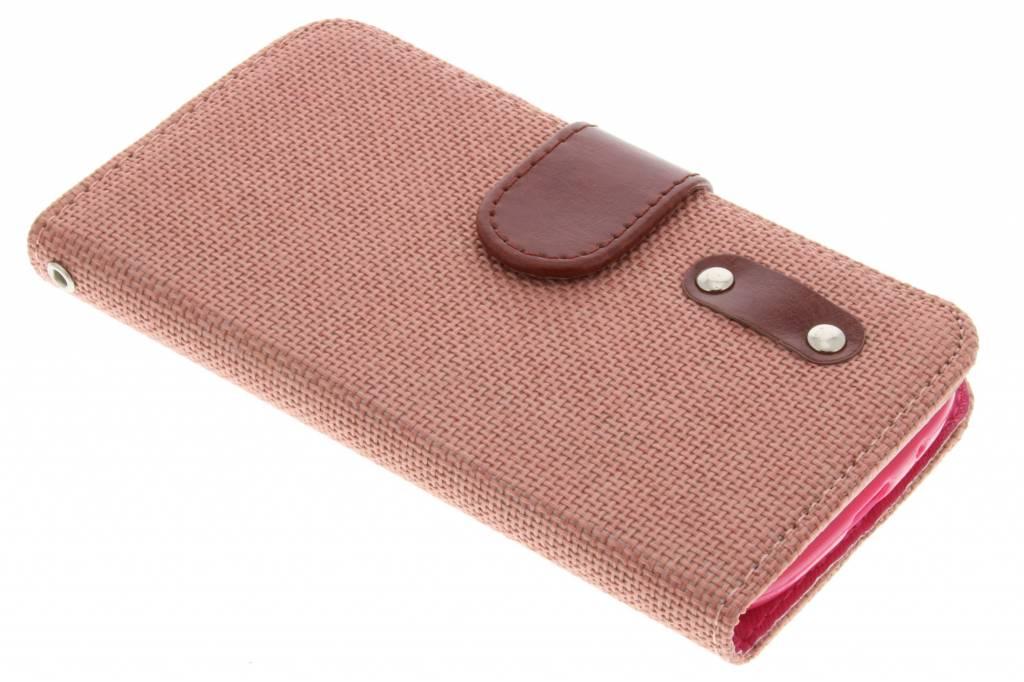 Zalmroze linnen look TPU booktype hoes voor de Samsung Galaxy S3 / Neo