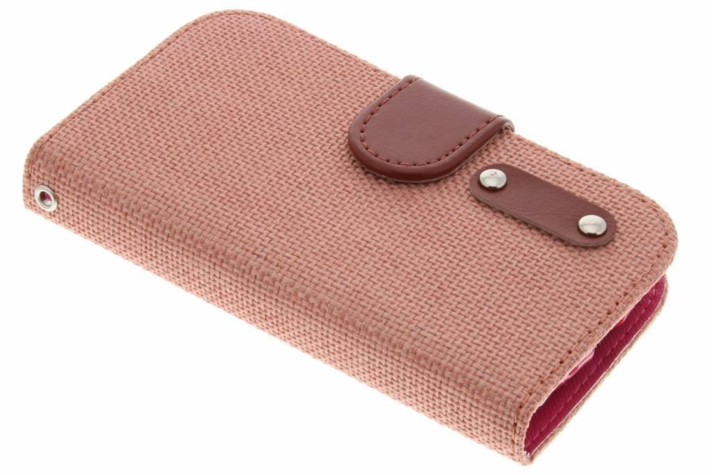 Zalmroze linnen look TPU booktype hoes voor de Samsung Galaxy S3 Mini