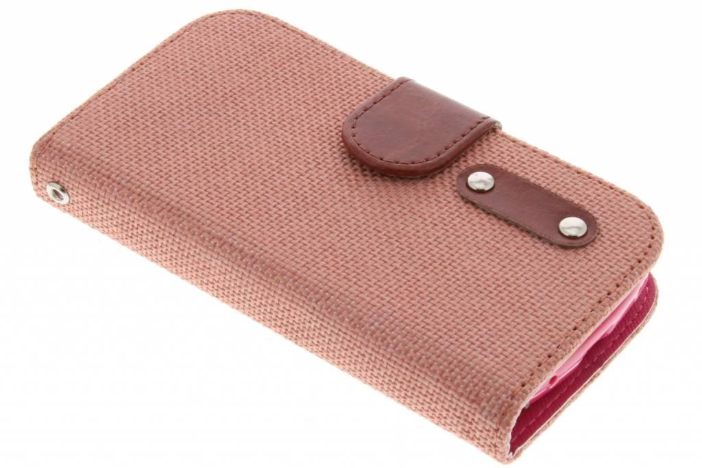 Zalmroze linnen look TPU booktype hoes voor de Samsung Galaxy Trend Lite