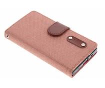 Zalmroze linnen look booktype hoes Sony Xperia Z5