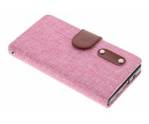 Roze linnen look booktype hoes Sony Xperia Z5