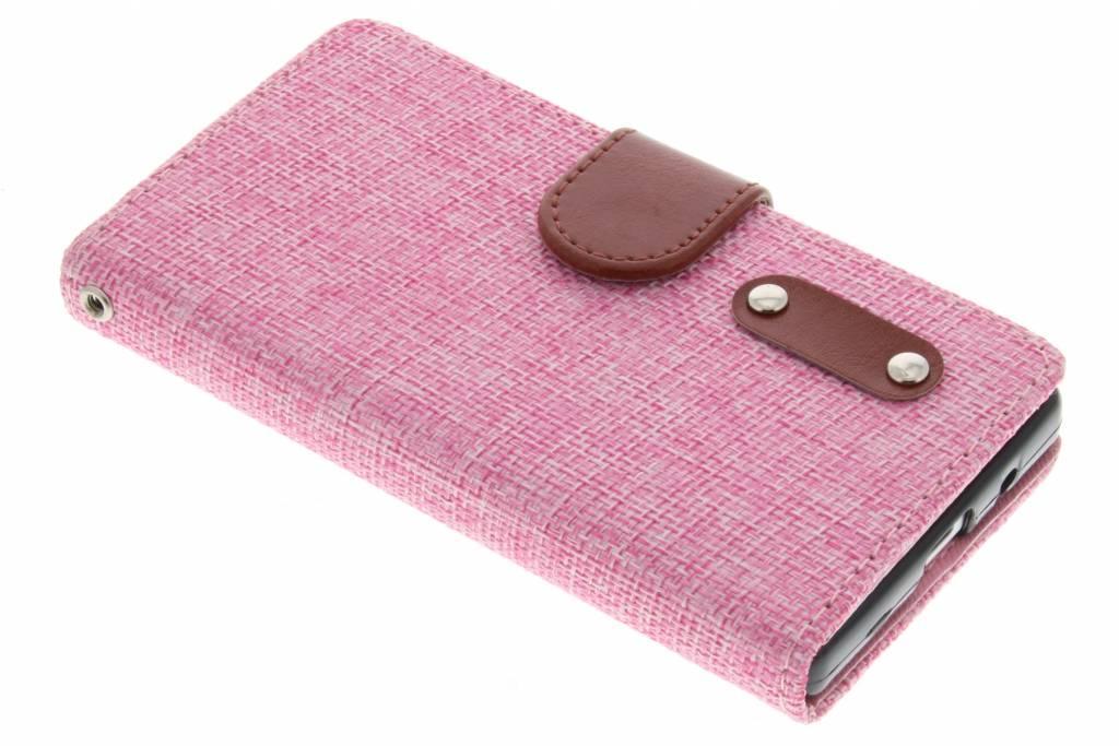 Roze linnen look booktype hoes voor de Sony Xperia Z5