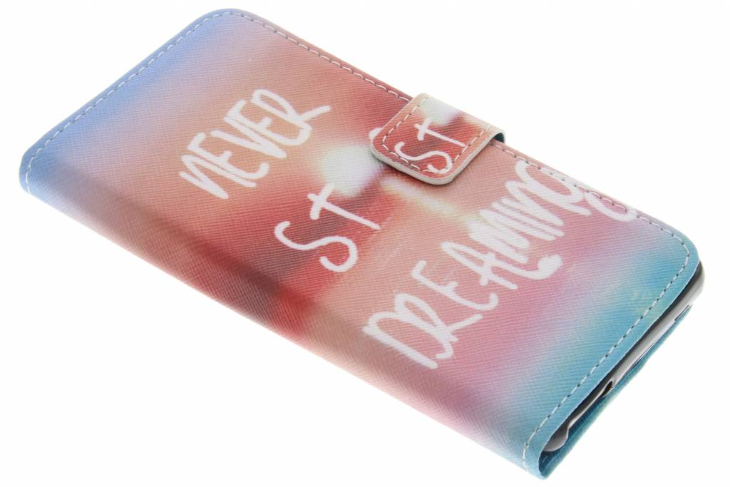 Never stop dreaming design TPU booktype hoes voor de Wiko U Feel