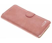 Roze luxe suède booktype hoes iPhone 7 Plus