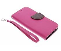 Fuchsia blad design TPU booktype hoes HTC One M9