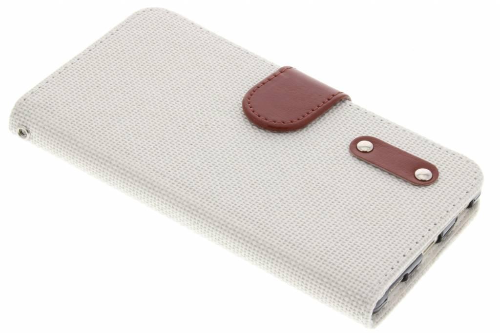 Witte linnen look TPU booktype hoes voor de Huawei P8