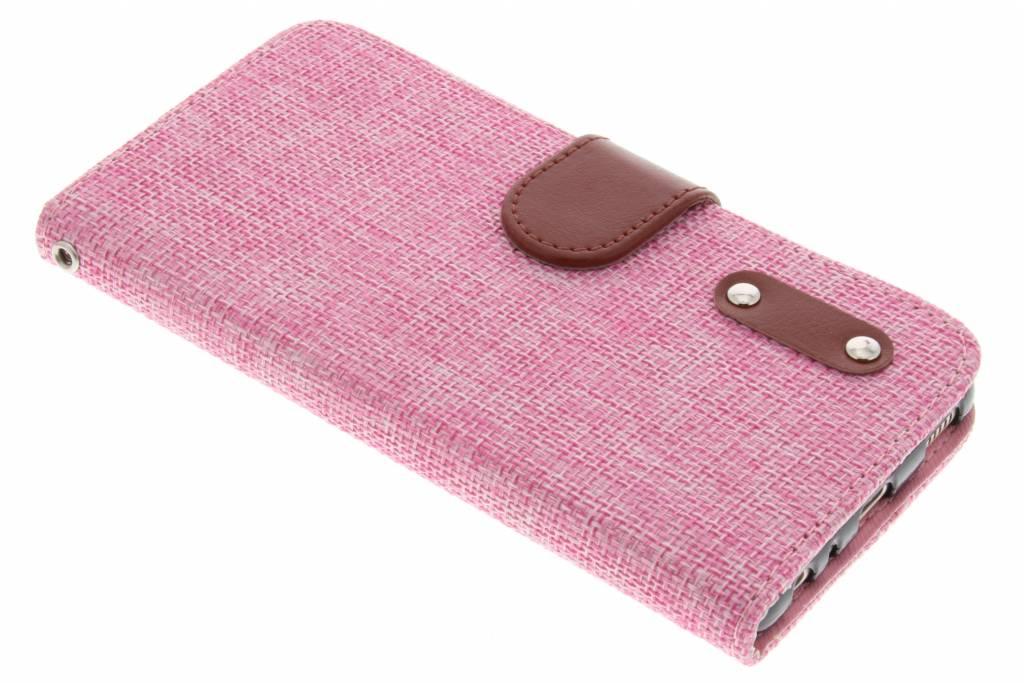 Roze linnen look TPU booktype hoes voor de Huawei P9