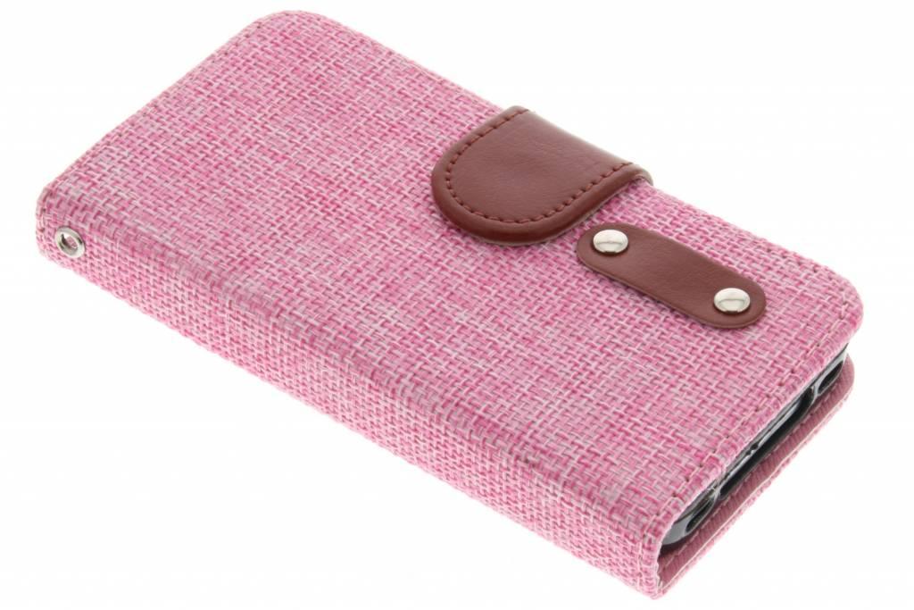 Roze linnen look TPU booktype hoes voor de iPhone 4 / 4s