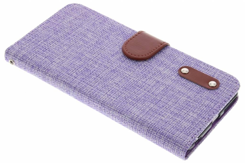 Paarse linnen look TPU booktype hoes voor de iPhone 6(s) Plus