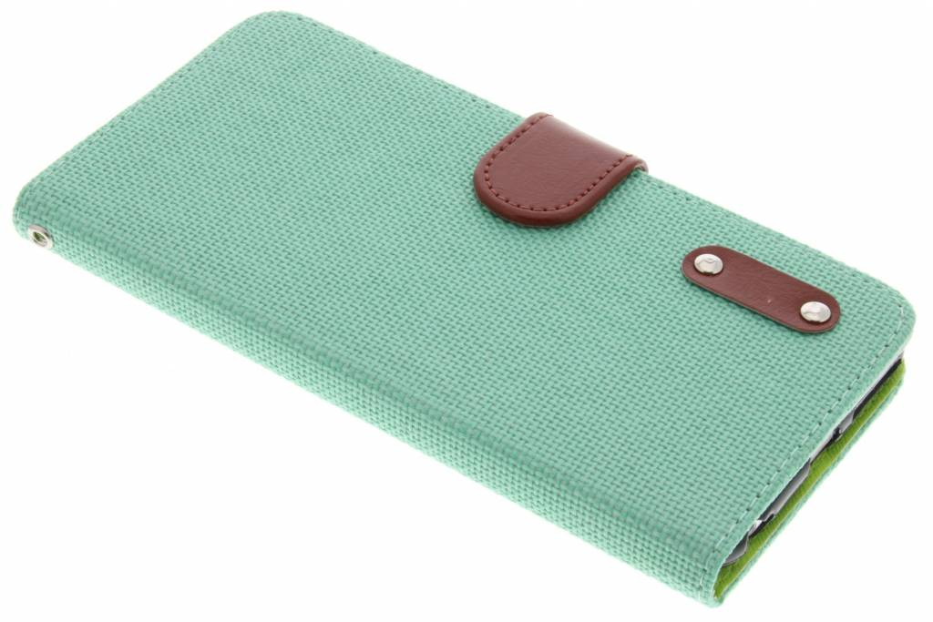 Groene linnen look TPU booktype hoes voor de iPhone 6(s) Plus