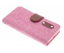 Roze linnen look TPU booktype hoes LG L70