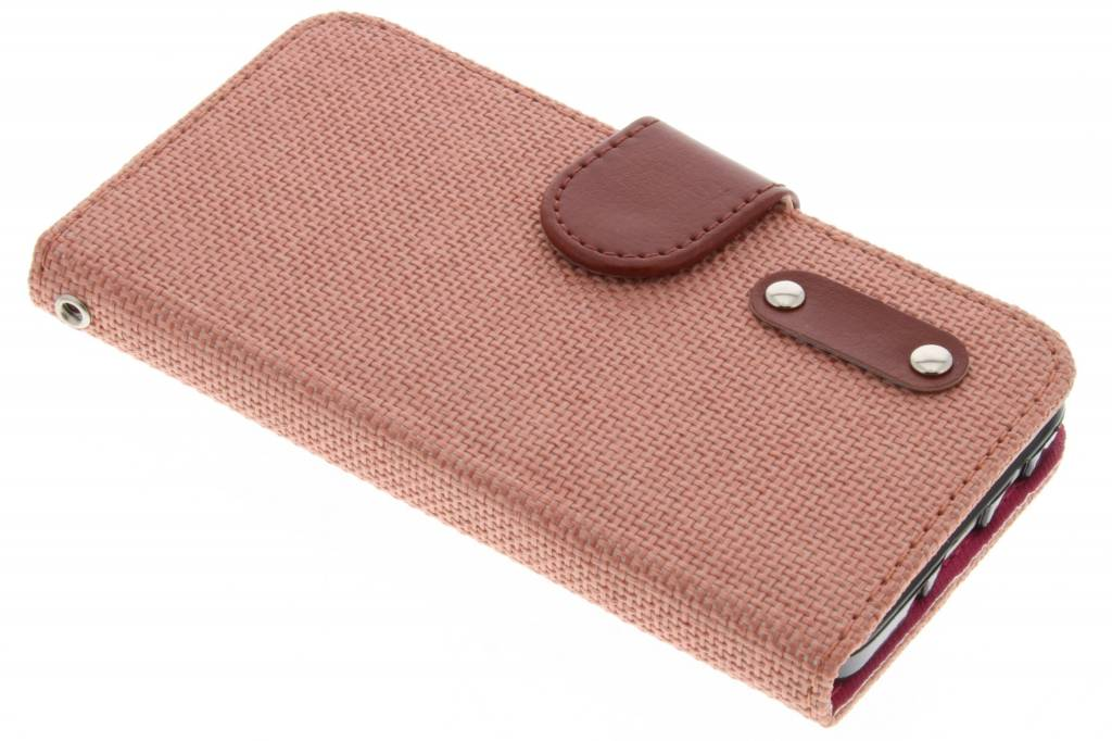 Zalmroze linnen look TPU booktype hoes voor de Samsung Galaxy A3