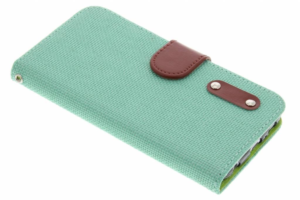 Groene linnen look TPU booktype hoes voor de Samsung Galaxy S6