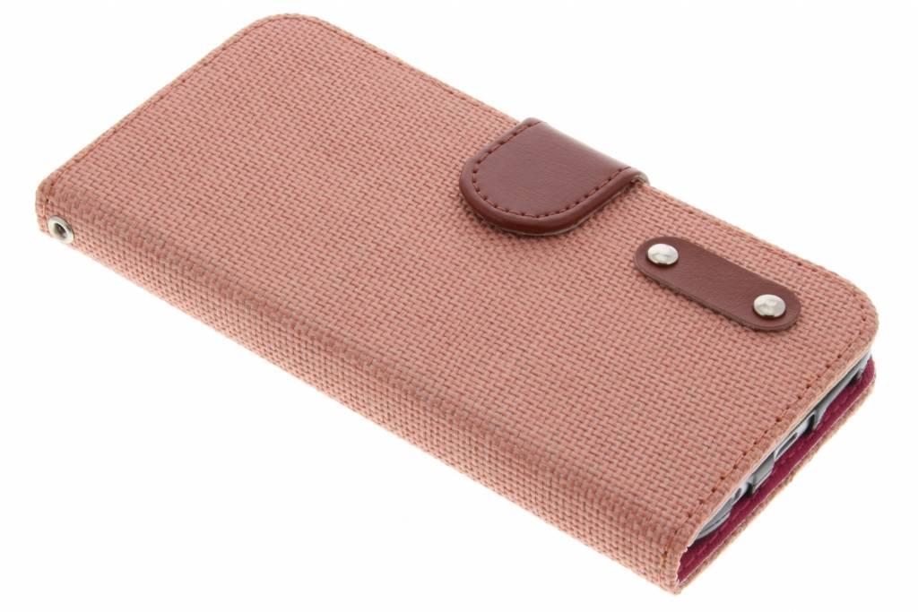 Zalmroze linnen look TPU booktype hoes voor de Samsung Galaxy S7