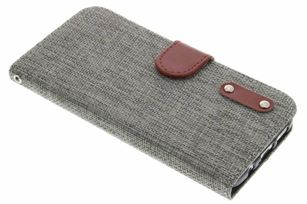 Grijs linnen look TPU booktype hoes voor de Samsung Galaxy S7 Edge