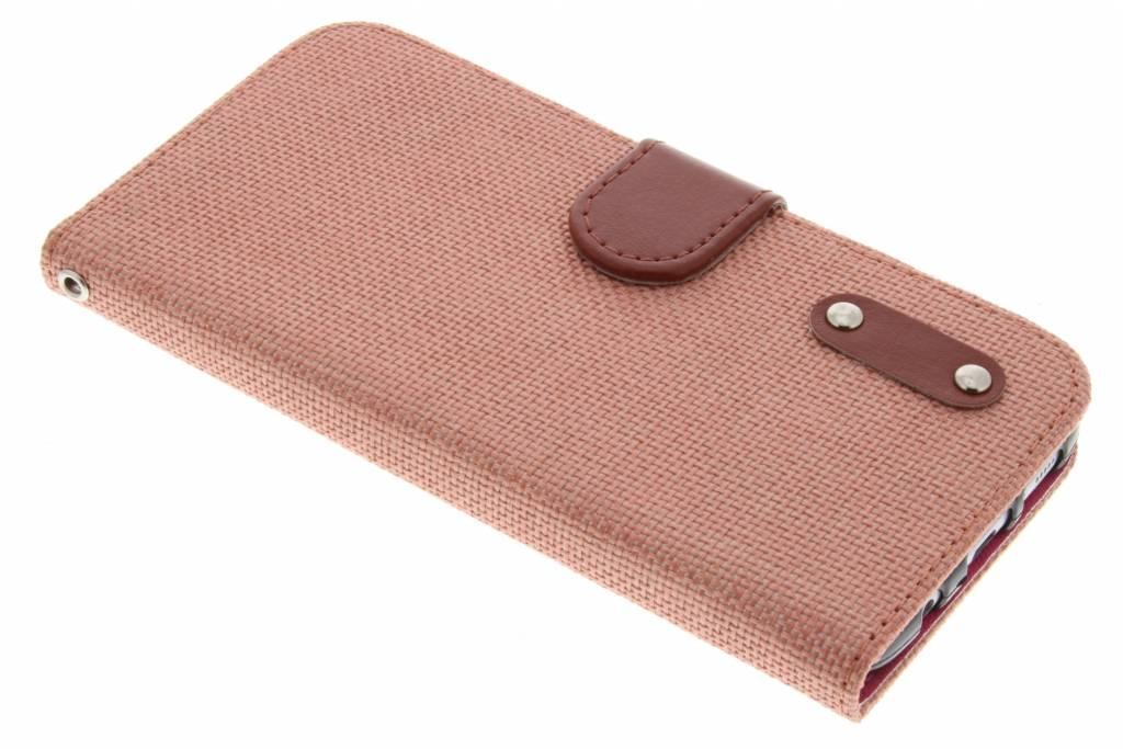 Zalmroze linnen look TPU booktype hoes voor de Samsung Galaxy S7 Edge