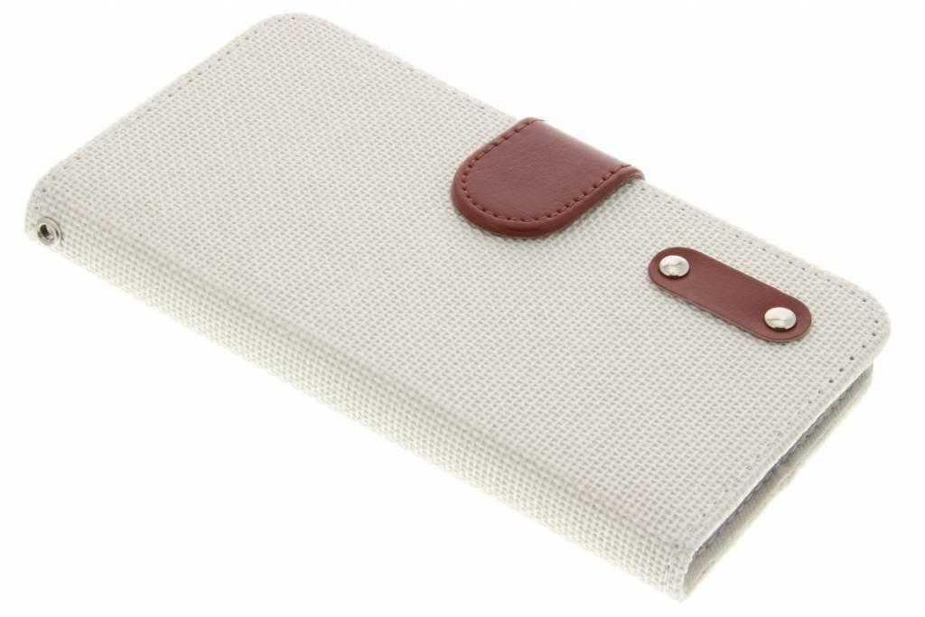 Witte linnen look TPU booktype hoes voor de Wiko Lenny 2