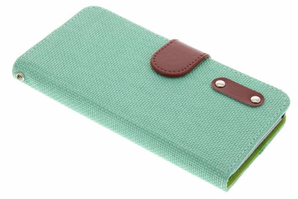 Groene linnen look TPU booktype hoes voor de Wiko Lenny 2