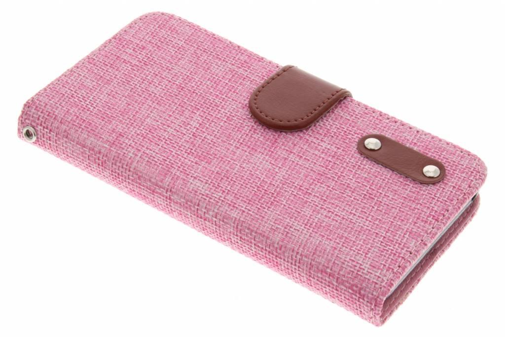 Roze linnen look TPU booktype hoes voor de Wiko Lenny 2