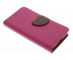 Fuchsia blad design TPU booktype hoes Microsoft Lumia 550