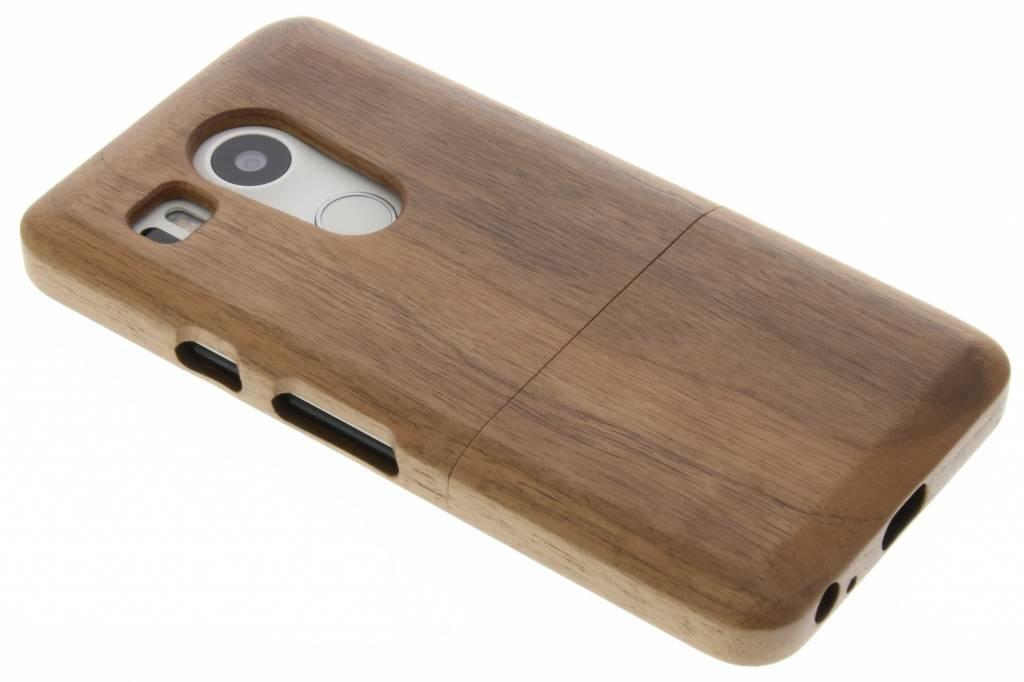 Donkerbruin echt houten hardcase hoesje voor de LG Nexus 5X