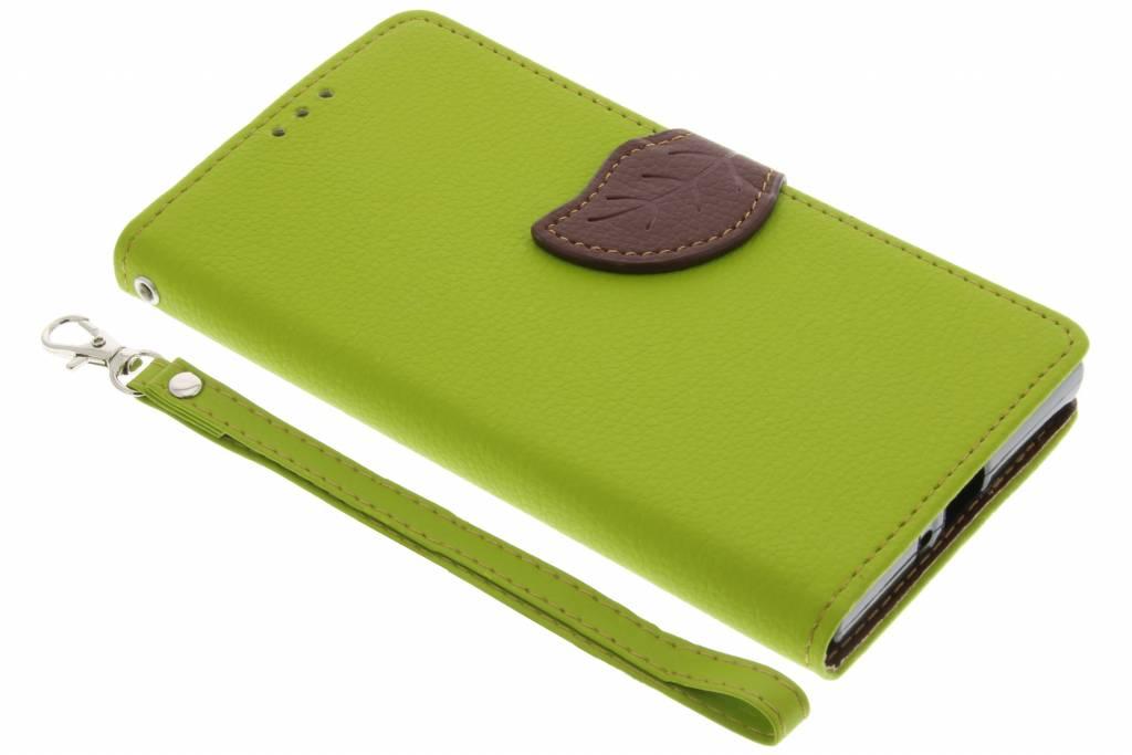 Groene blad design TPU booktype hoes voor de Sony Xperia XZ / XZs