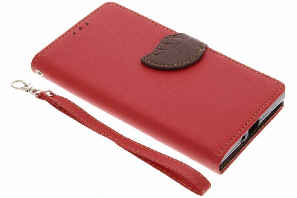 Rode blad design TPU booktype hoes voor de Sony Xperia XZ / XZs