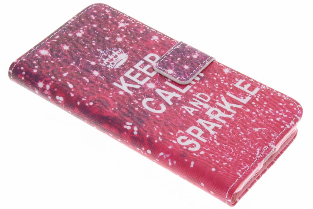 Keep Calm and Sparkle design TPU booktype hoes voor de iPhone 7