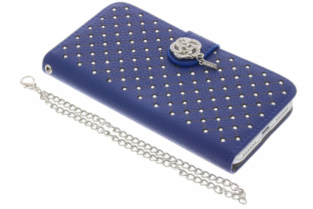 Blauwe chique strass booktype hoes voor de iPhone 8 Plus / 7 Plus