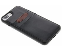 Zwart lederen backcover met vakjes iPhone 7 Plus