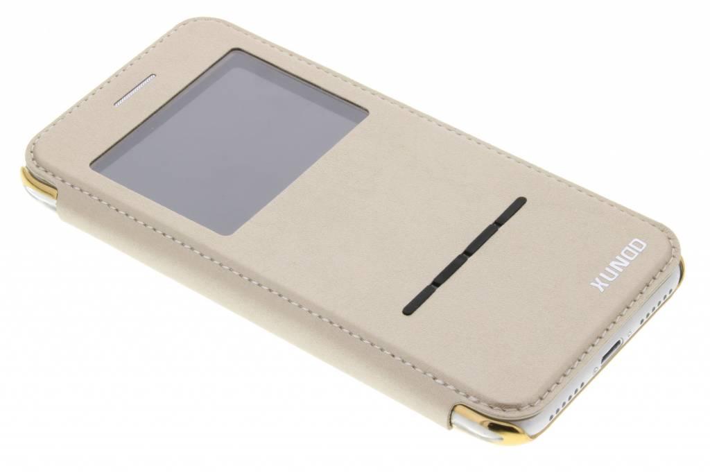 Gouden Crystal slim book case met venster voor de iPhone 7 plus