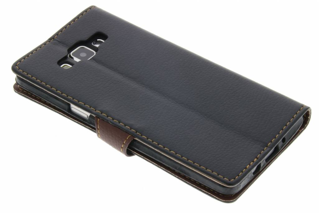 Zwarte blad design TPU booktype hoes voor de Samsung Galaxy A5