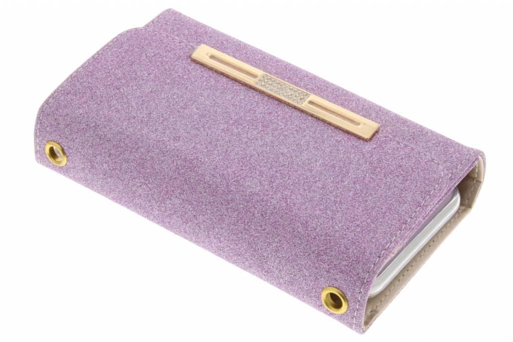 Paarse blingbling booktype portemonnee voor de iPhone 8 Plus / 7 Plus