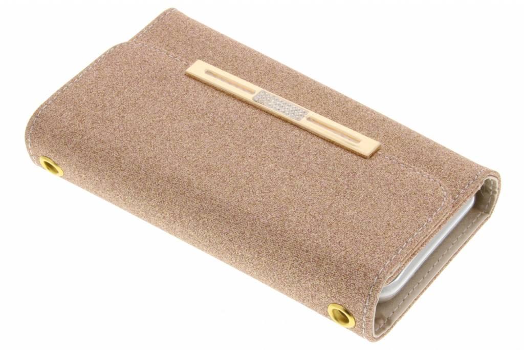 Gouden blingbling booktype portemonnee voor de iPhone 8 Plus / 7 Plus