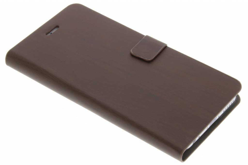 Donkerbruine hout design booktype hoes voor de iPhone 6 / 6s