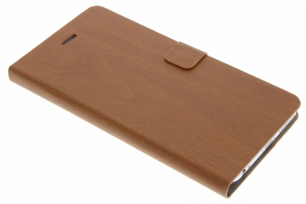 Bruine hout design booktype hoes voor de iPhone 6(s) Plus