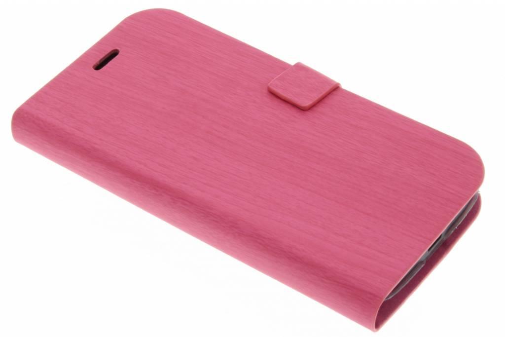 Fuchsia hout design booktype hoes voor de Motorola Moto G