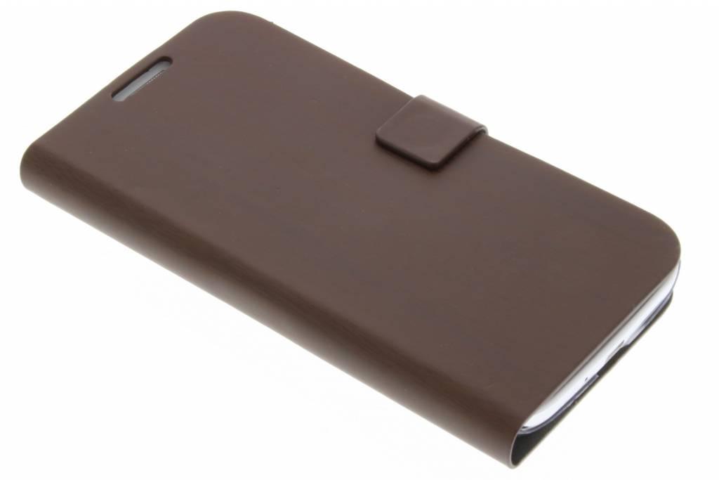 Donkerbruine hout design booktype voor Samsung Galaxy S4