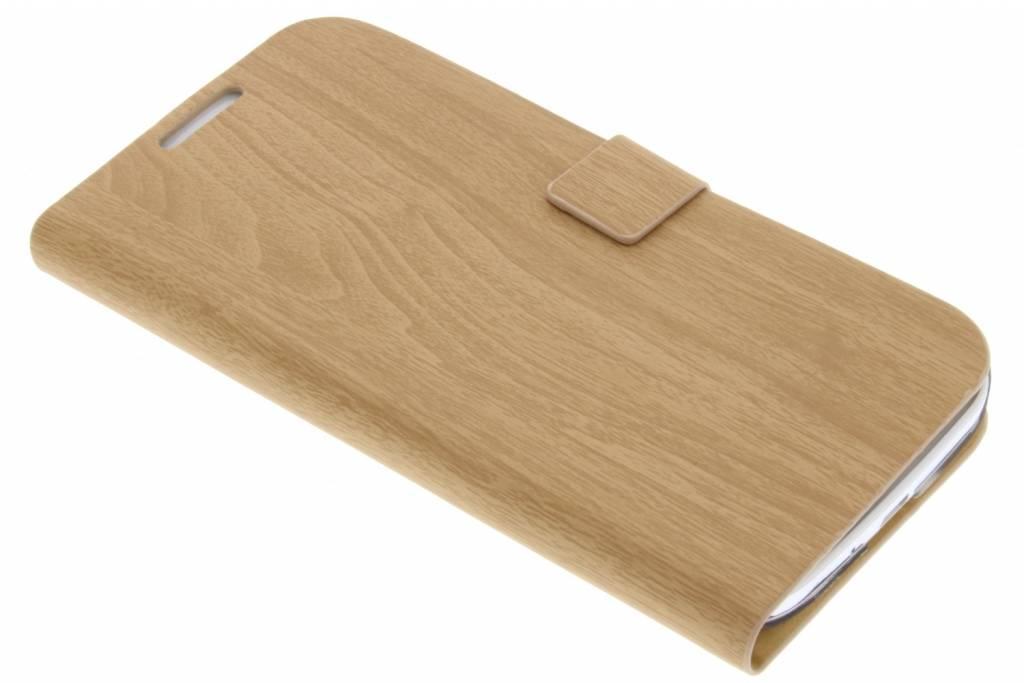 Lichtbruine hout design booktype voor Samsung Galaxy S4