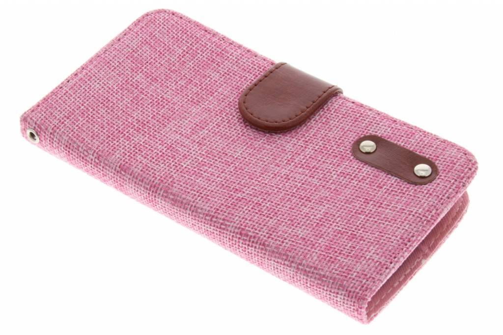 Roze linnen look TPU booktype hoes voor de LG L Bello / L80 Plus