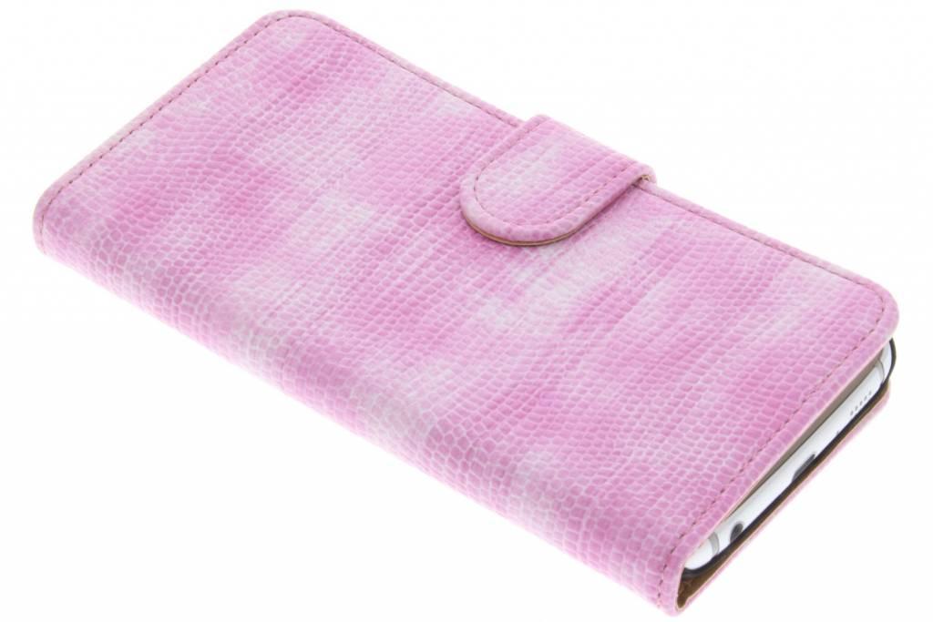 Roze hagedis design booktype hoes voor de Samsung Galaxy S6