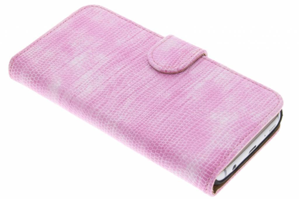 Roze hagedis design booktype hoes voor de Samsung Galaxy S7