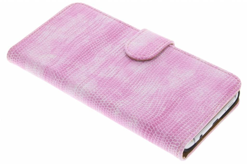 Roze hagedis design booktype hoes voor de Samsung Galaxy S7 Edge