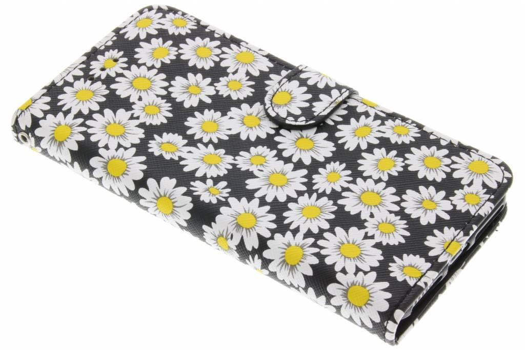 Zwarte daisy TPU booktype hoes voor de iPhone 7 Plus